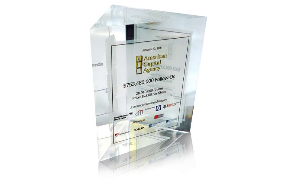 American Capital Agency Lucite Tombstone