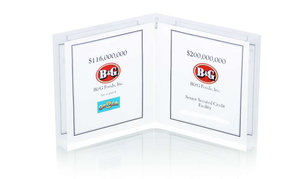 BG Foods Two Panel Lucite Tombstone