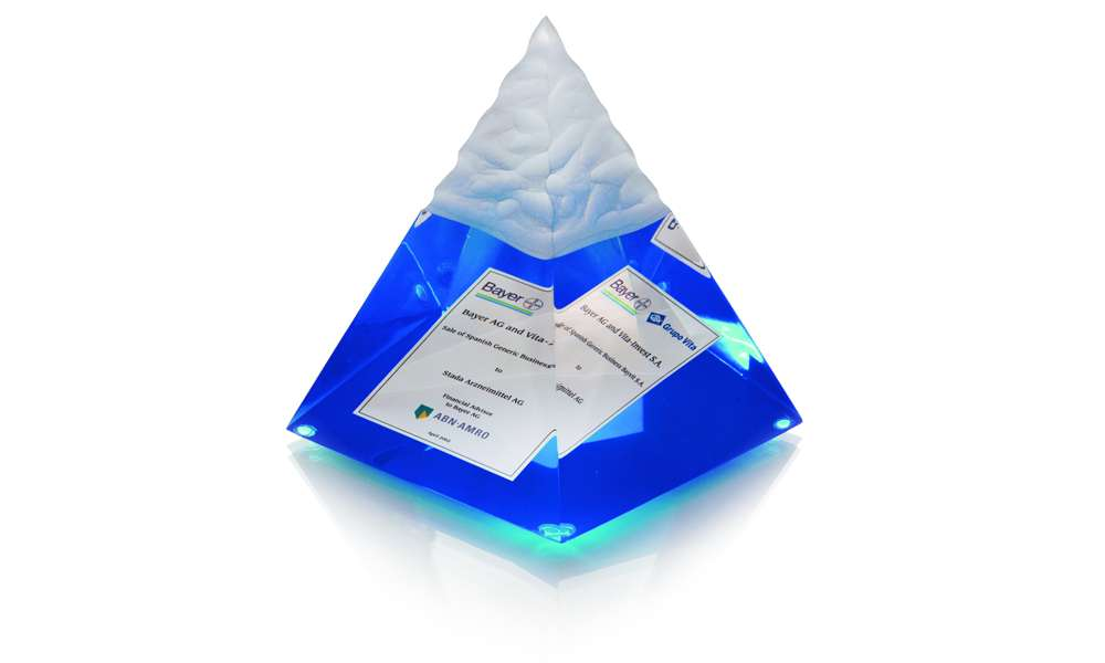 Bayer Pyramid Lucite Tombstone