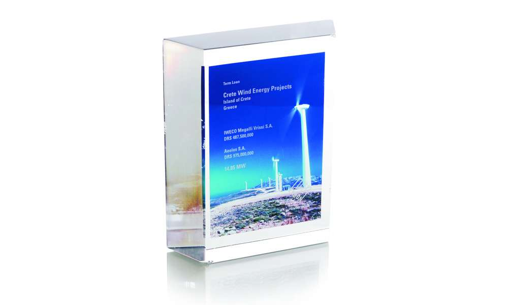 Crete Wind Energy Thin Trapezoid Custom Lucite