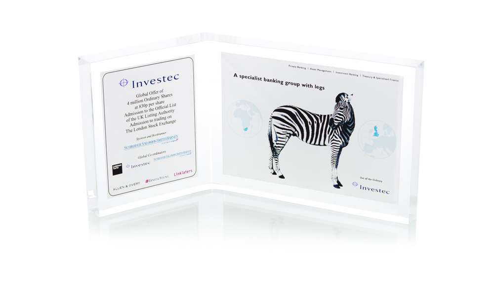 Investec Two Panel Lucite Tombstone