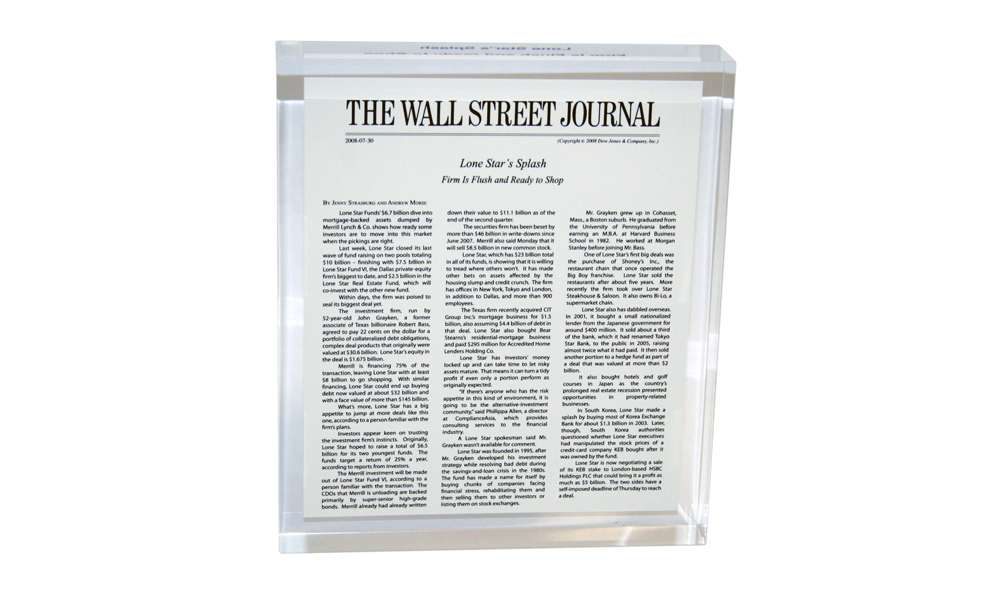 Wall Street Journal Recognition Product