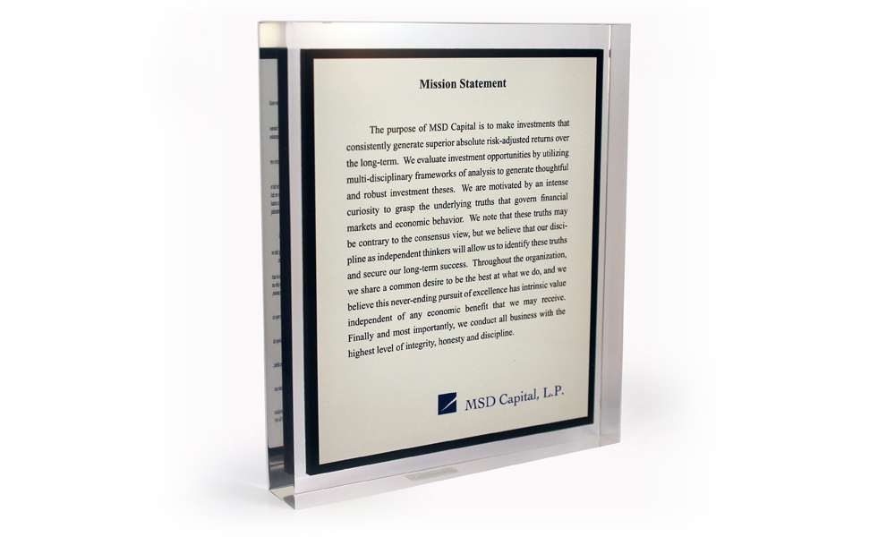 MSD Capital Mission Statement Display Recognition Product