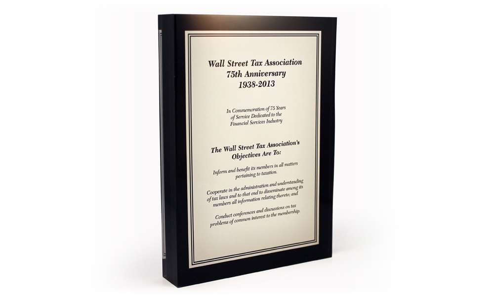 Wall Street Tax Association Corporate Anniversary Display Recognition Product