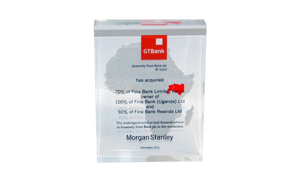 GT Bank Lucite Tombstone
