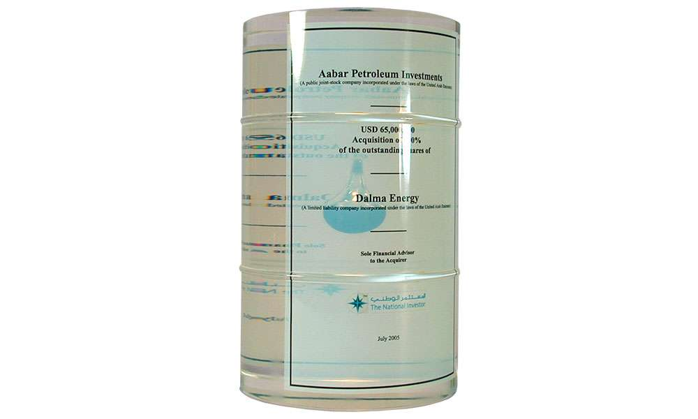 Acrylic Oil Drum with Embedded Vial