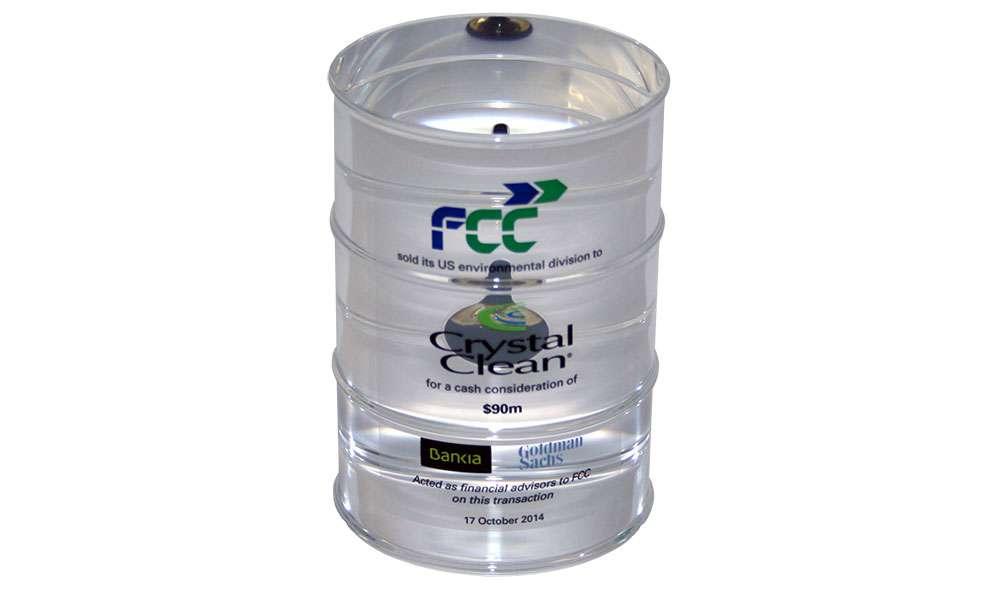 Custom Acrylic Oil Drum with Embedded Vial