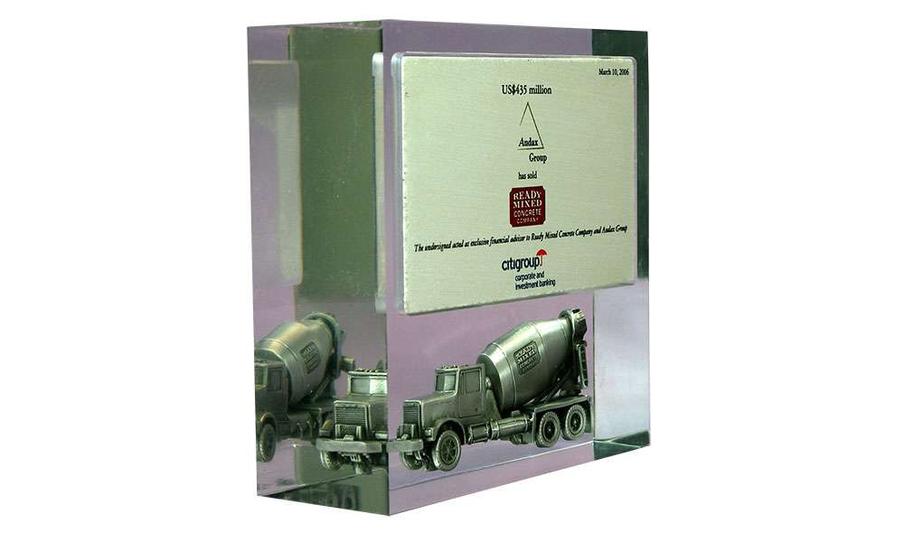 Acrylic Embedment with Pewter Cement Mixer
