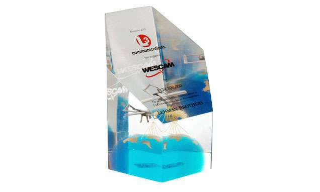 Lucite Embedment with Pewter Airplane