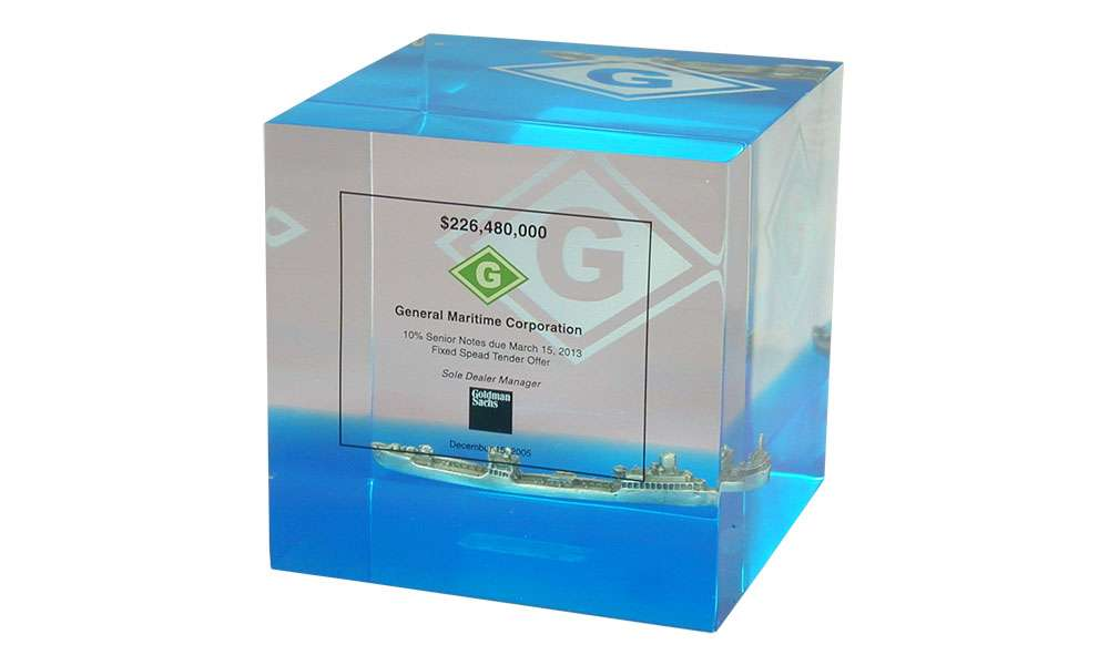 Lucite with Embedded Pewter Ship