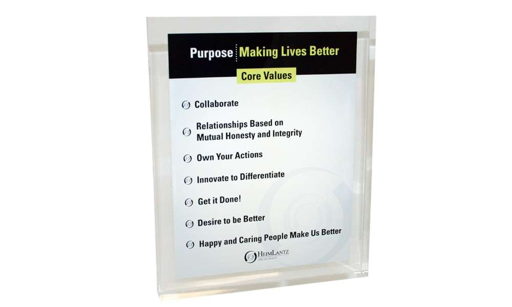 Mission Statement and Values Display