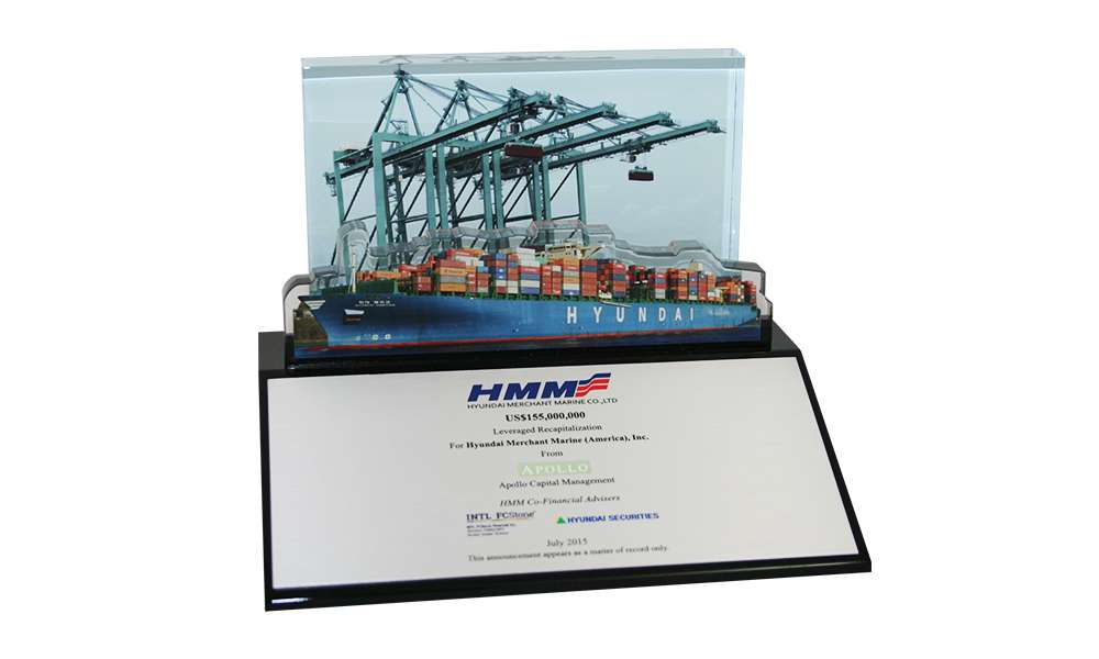 Container Port-Themed Lucite Tombstone
