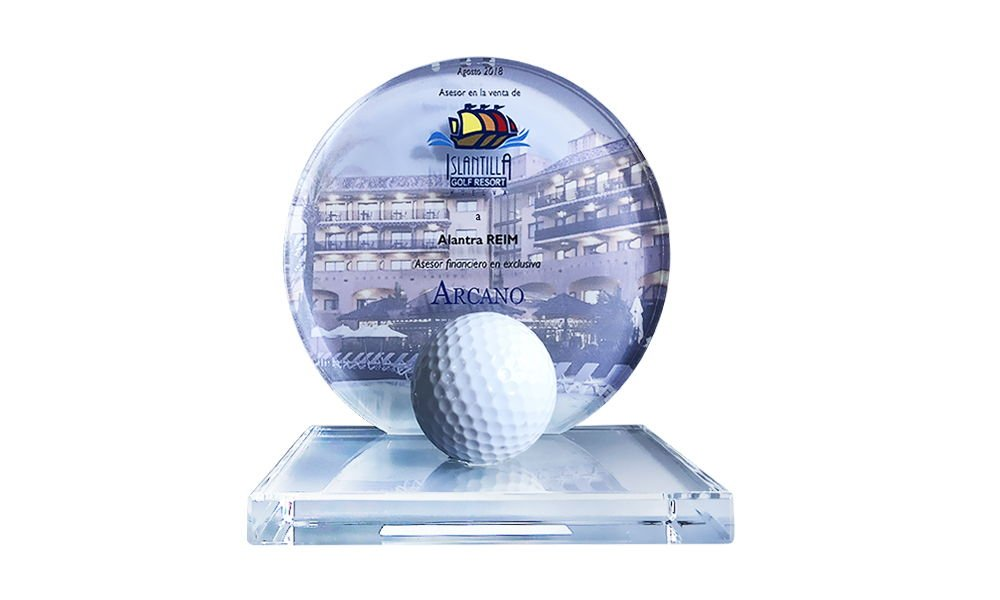 Golf-Themed Crystal Tombstone