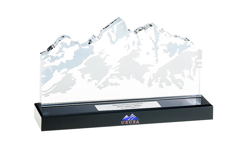 Mountain-Themed Crystal Sports Award