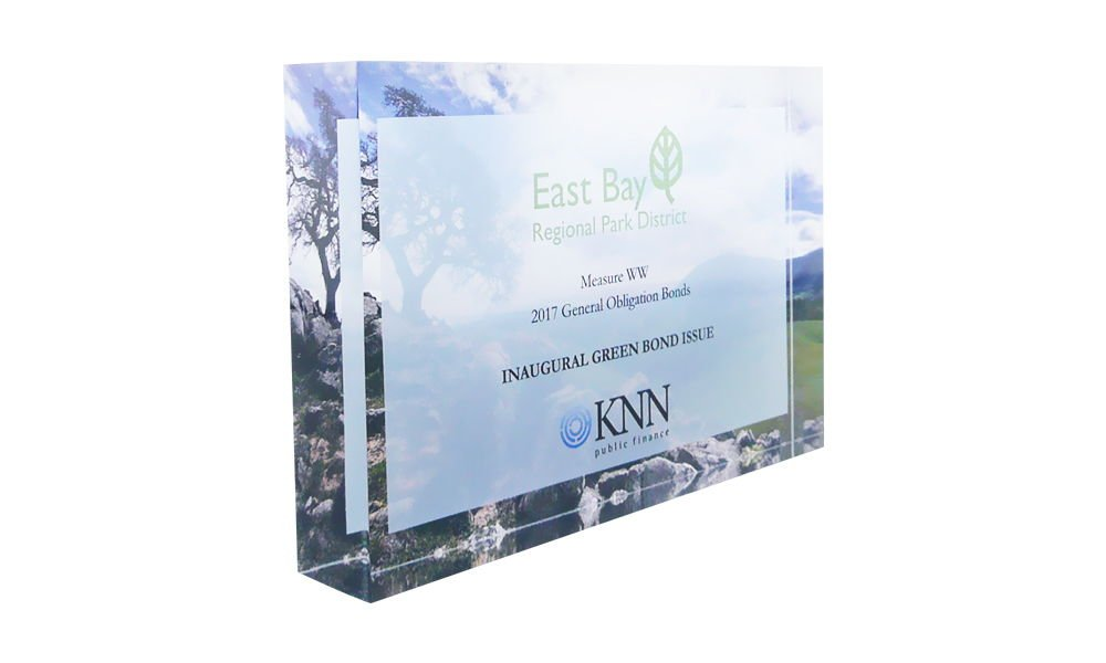 Lucite Tombstone for Green Bond Issue