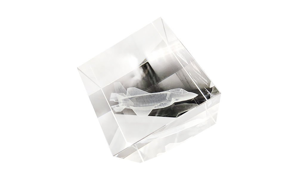 Crystal Cube with Internal Airplane Etch