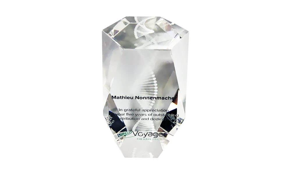 DNA Strand-Themed Crystal Award