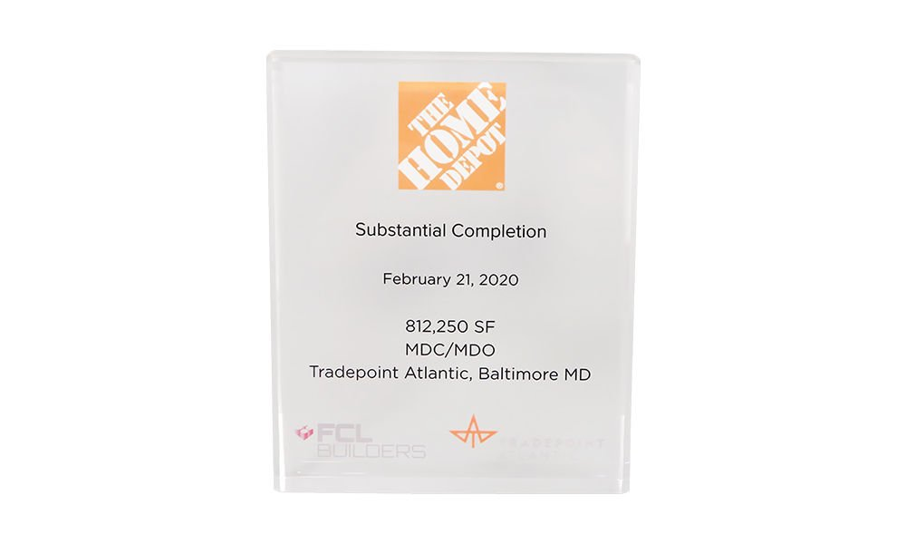 Home Depot Facility Opening Commmemorative