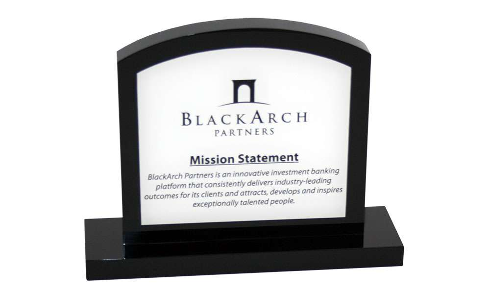 Logo-Themed Mission Statement Display
