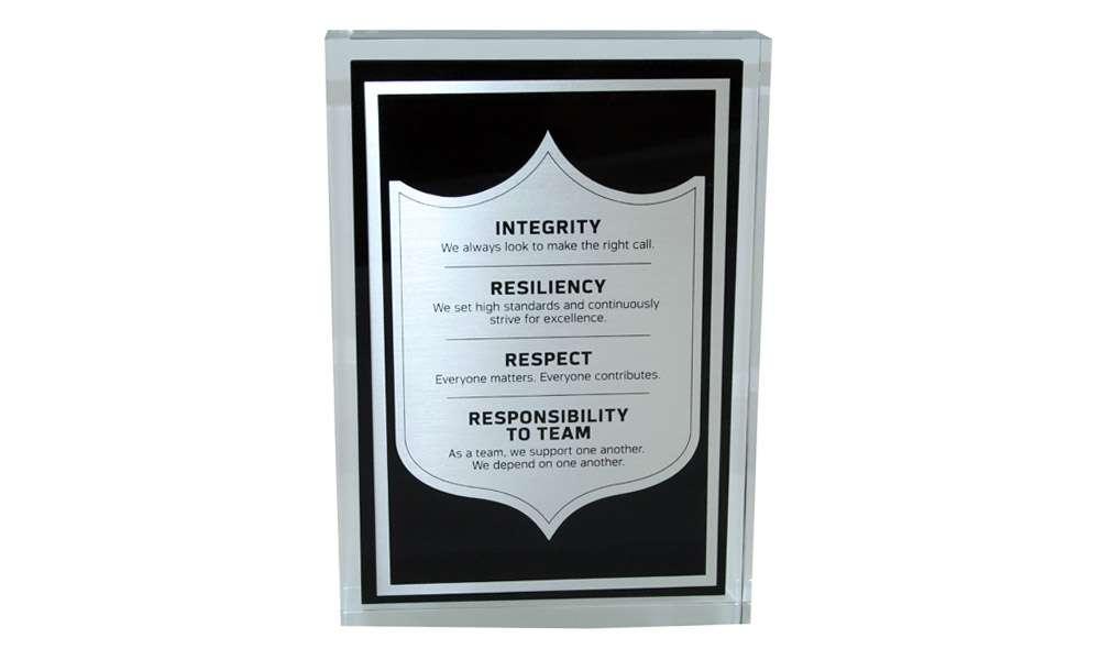 Custom Acrylic Mission Statement Display