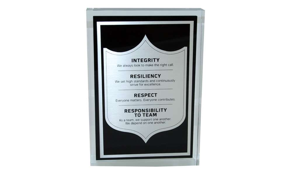 National Football League Mission Statement Display