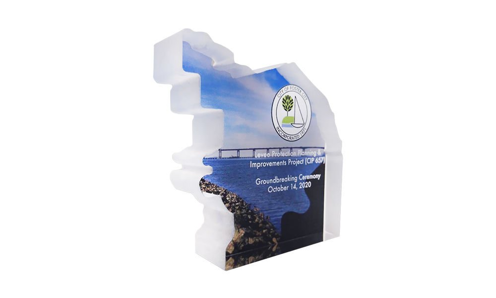 Map-Shaped Groundbreaking Commemorative