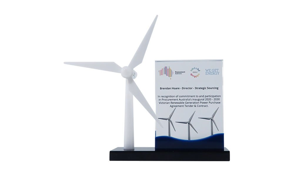 Wind Turbine-Themed Lucite Commemorative