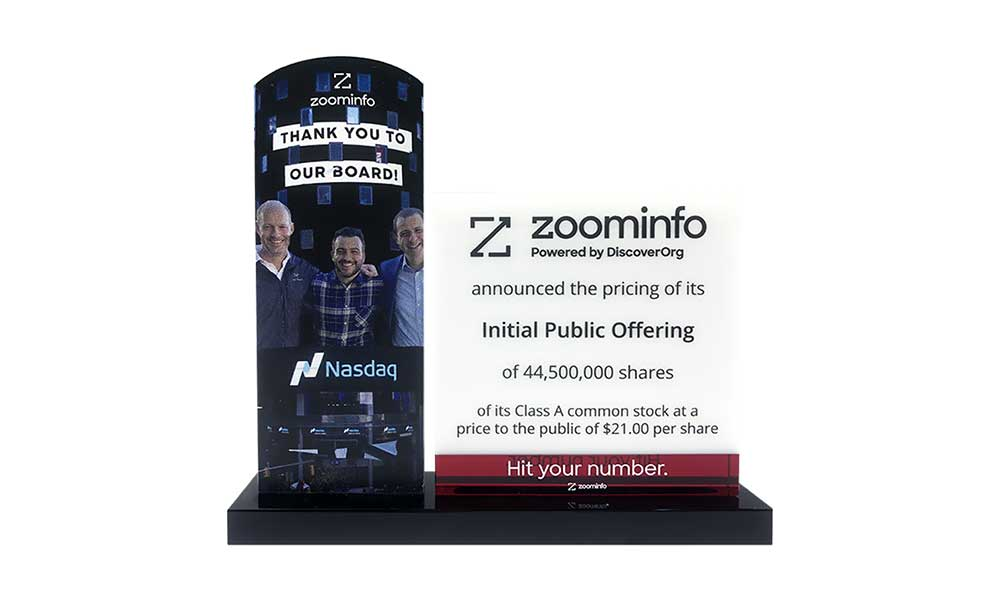 ZoomInfo IPO Crystal Commemorative