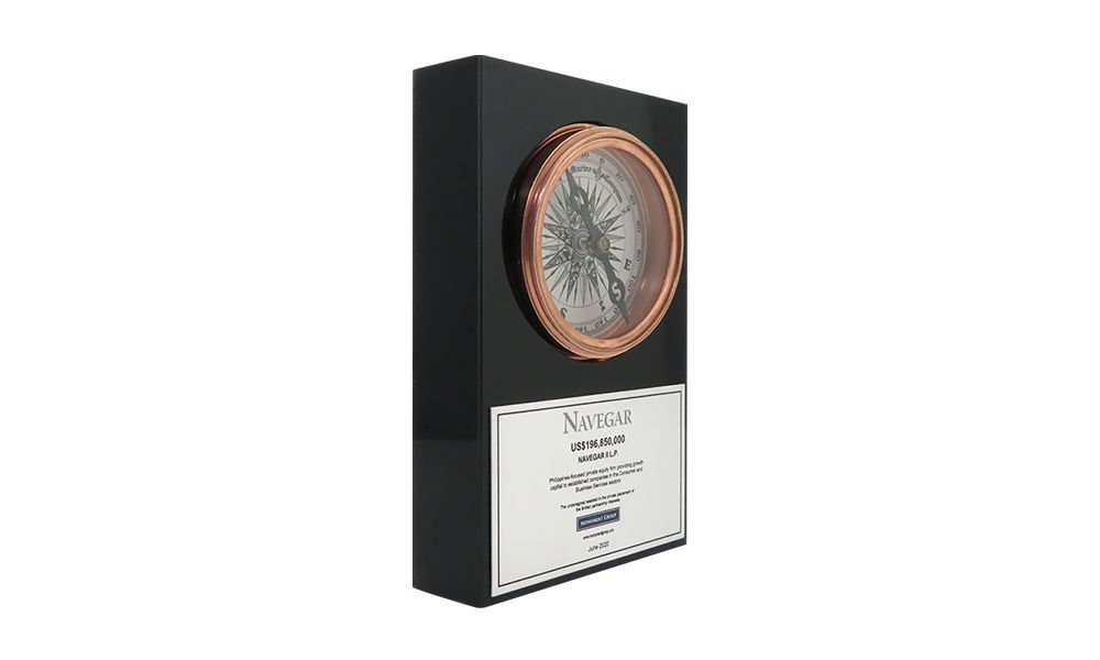 Compass-Themed Lucite Tombstone