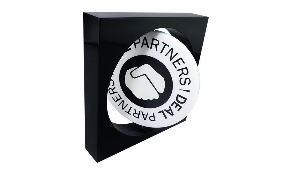 Lucite Tombstone with Spinning Logo