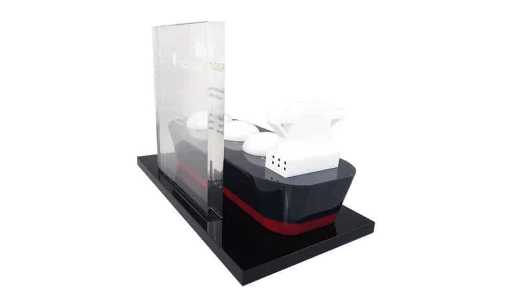 Tanker-Themed Lucite Tombstone