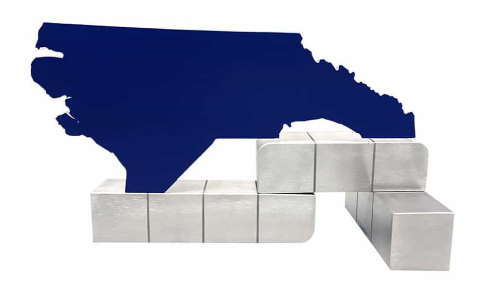 North Carolina Map-Themed Deal Tombstone (Back View)